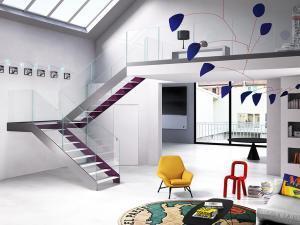 Elegant lätt U-form ståltrappa | Trappspecialisterna