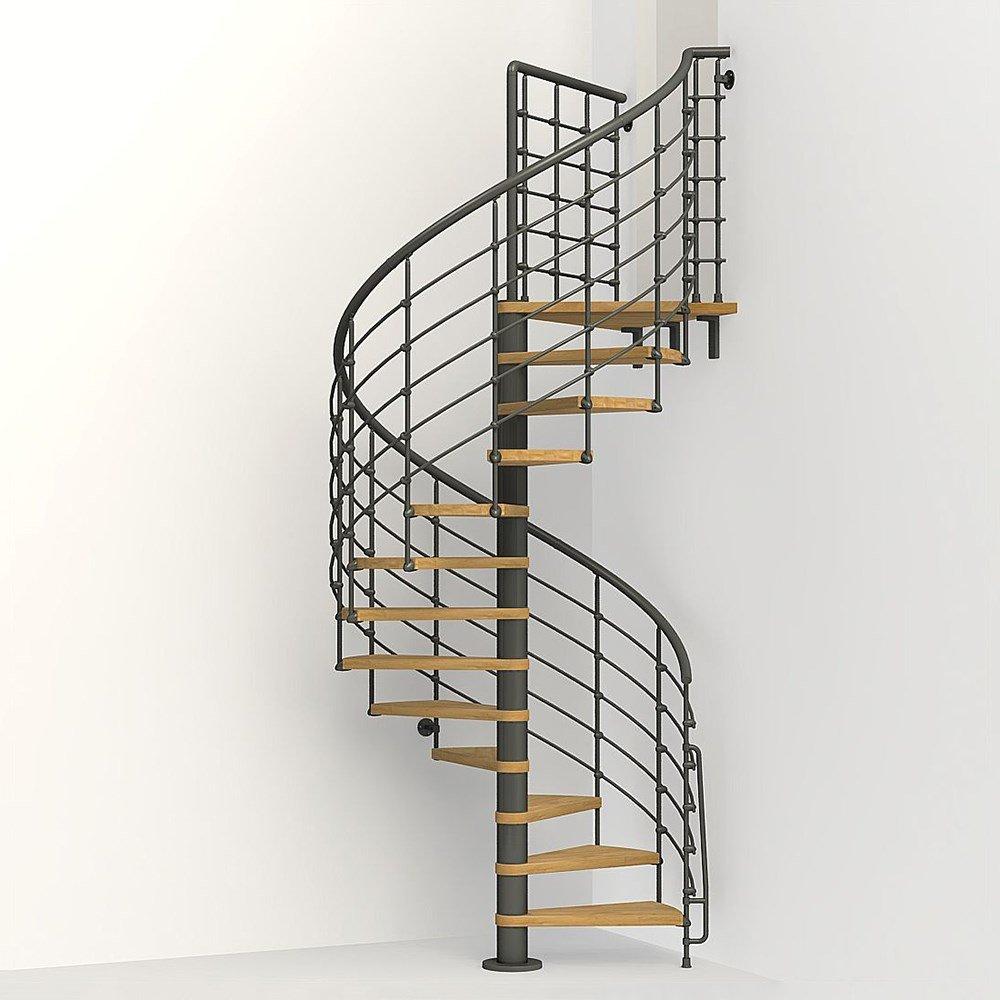 pulverbelagda räcken fäst med spiraltrappa för ditt interiör | Trappspecialisterna